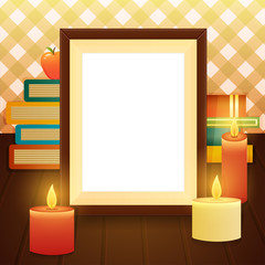 Empty picture frame on the table