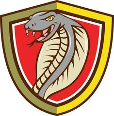 Cobra Viper Snake Head Attacking Shield Cartoon