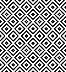 Seamless black and white grid check pixel pattern