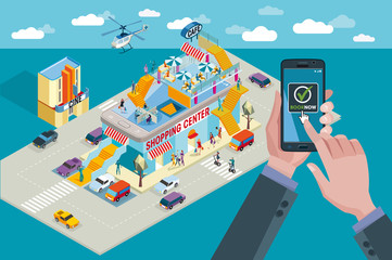 Shopping Center, Smart Phone and Booking Horizontal