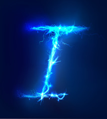 Alphabet made of blue electric lighting, thunder storm effect