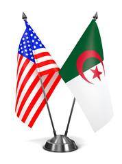 USA and Algeria - Miniature Flags.