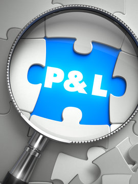 Profit and Loss - Missing Puzzle Piece through Magnifier.