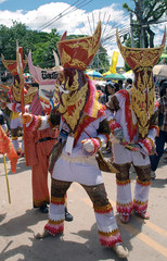 colorful ghost mask in PhiTaKhon Festival