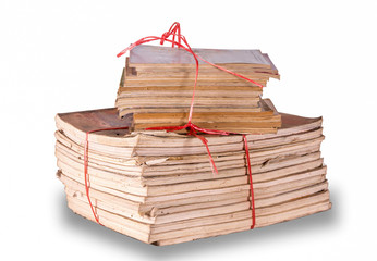 Group of old Books for recycle whit Red rope