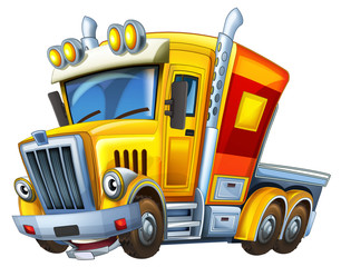 Cartoon truck - caricature - illustration for the children