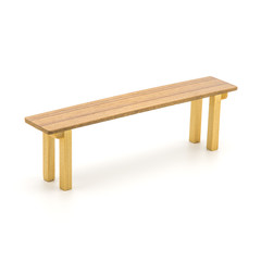 Isolated Long Wooden Bench