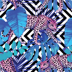 leopard and tropical plants, geometric background