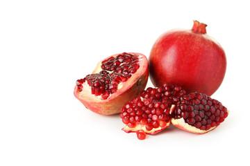 Delicious pomegranate fruit isolated on white