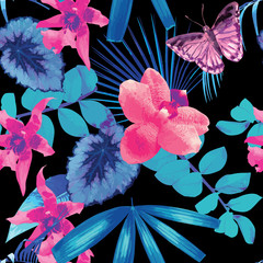 orchids, butterflies and palm leaves pattern