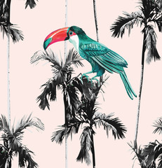 palm trees and toucan seamless background