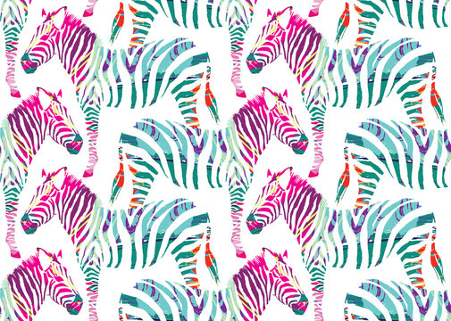 zebra painting seamless background