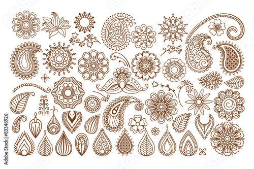 Henna Tattoo Doodle Elements Stock Image And Royalty Free Vector
