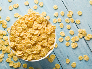 Cornflakes in the white bowl.
