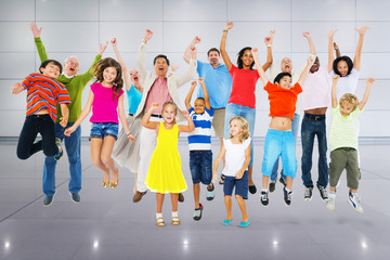 Children Celebration Jumping Ecstatic Happiness Concept