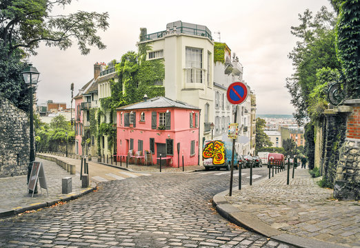 Old streets in Montmartre, Paris, France