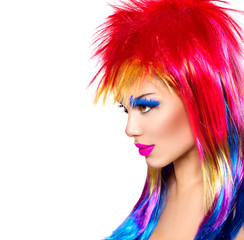 Tuinposter Beauty Beauty fashion punk model girl with colorful dyed hair