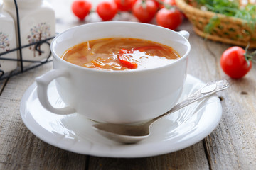 Soup from fresh cabbage, tomatoes and potatoes
