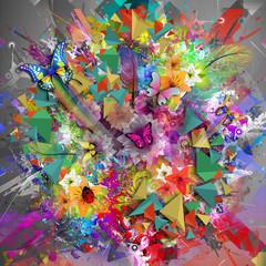 Красочные Гармония цветочные фон с бабочками