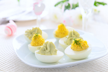 Festive appetizer from stuffed eggs