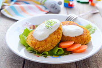 Cutlet from carrots - child food