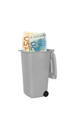 Garbage bin banknotes euro isolated