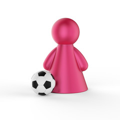 Abstract concept with figure of woman with soccer ball. 3d rende