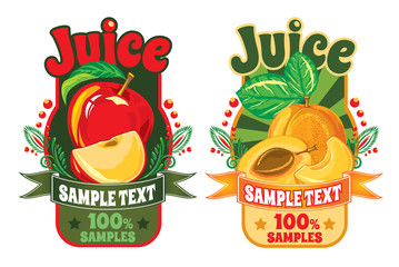 set of templates for labels of juice from the fruit
