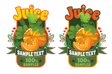 set of templates for labels of juice from pumpkin