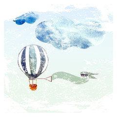 clouds and blue balloon