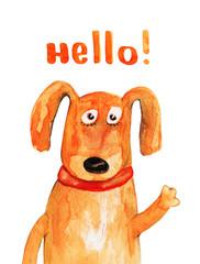 Dog. Hello. Watercolor