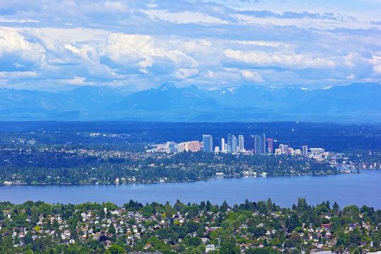 Scenic panorama of suburban Seattle with mountains range.