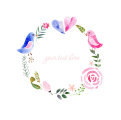 wreath of painted watercolor