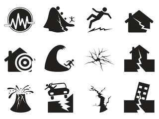 black earthquake icons set