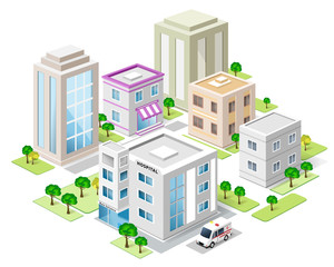 Set of detailed isometric city buildings. 3d town