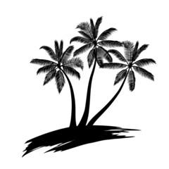 Palm trees on art island isolated