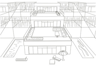 linear architectural sketch terraced houses front view