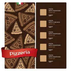 Menu design for pizzeria