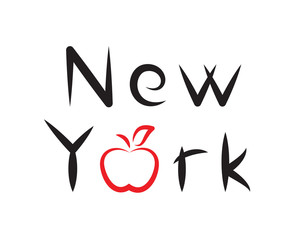 New York lettering with apple sign