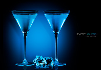 Cocktail Glasses with Blue Spirit Drink. Template Design