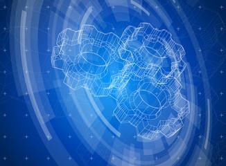 Blue technology background & gears blueprint