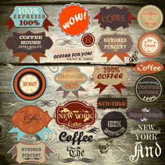 vector vintage labels on wooden texture