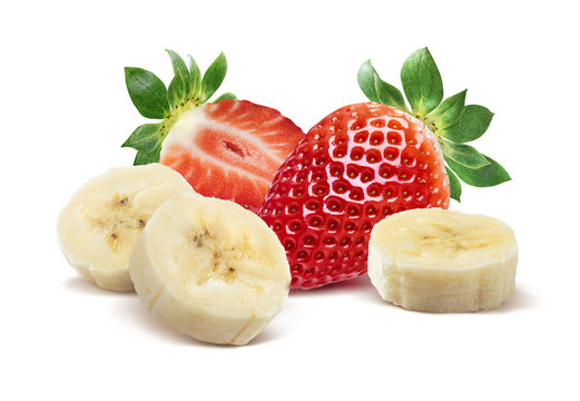 Whole strawberry, half and banana 3 isolated on white