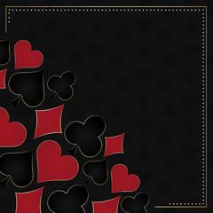 Poker dark vector background, card symbols and gold frame
