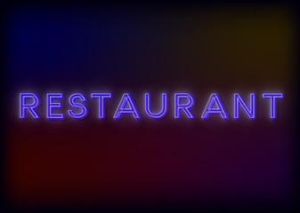 Colorful Glowing Neon Lights Restaurant. Restaurant neon sign