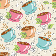 Seamless pattern with cups with flowers and leaves