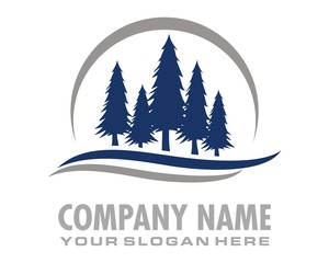 blue pine tree logo image vector