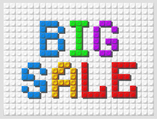 Banner big sale, the of Lego, color letters on white background