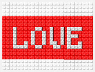 Banner with the word love, parts of Lego block red and white