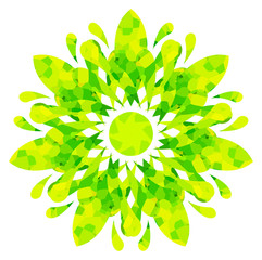 Watercolour pattern - Yellow-green abstract flower